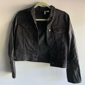 H&M Divided Vegan Faux Leather Sleeved Jean Jacket